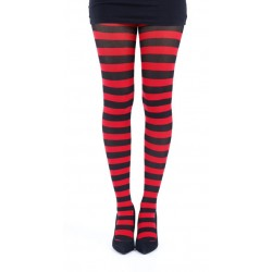 Striped Tights-Black/Red
